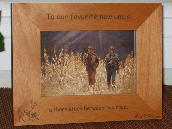 Deer Picture Frame - Personalized Hunting Frame - Laser Engraved Doe & Pines