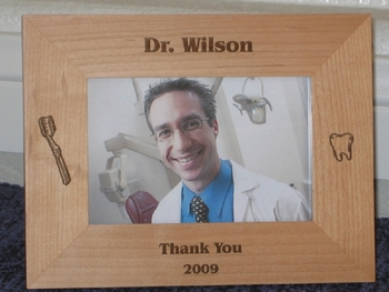 Dentist Picture Frame - Personalized Frame - Laser Engraved Tooth Brush & Tooth