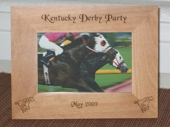 Derby Picture Frame - Personalized Frame, Laser Engraved Race Track Horses