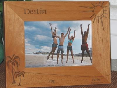 Destin Picture Frame - Personalized Frame - Laser Engraved Beach Theme