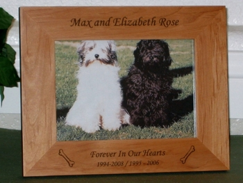 Dog Bone Picture Frame - Personalized Frame - Laser Engraved Dog Bones