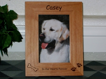 Dog Picture Frame - Personalized Frame - Laser Engraved Bone and Pawprints