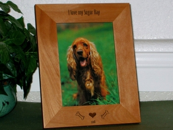 Dog Picture Frame - Personalized Frame - Laser Engraved Dog Bones & Heart