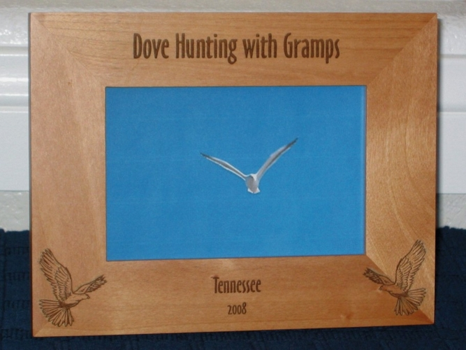 Dove Hunting Picture Frame - Personalized Frame - Laser Engraved Doves