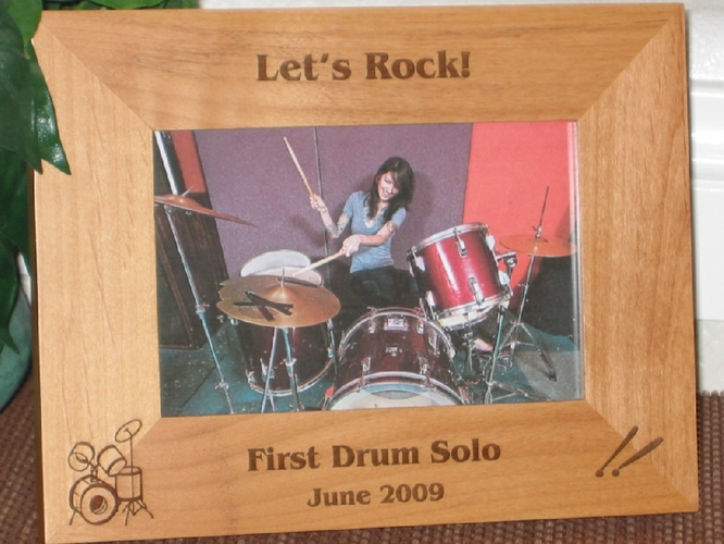 Drummer Picture Frame - Personalized Frame - Laser Engraved Drums