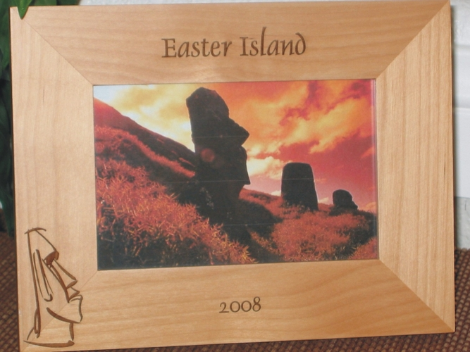 Easter Island Picture Frame - Personalized Frame - Laser Engraved Easter Island Icon