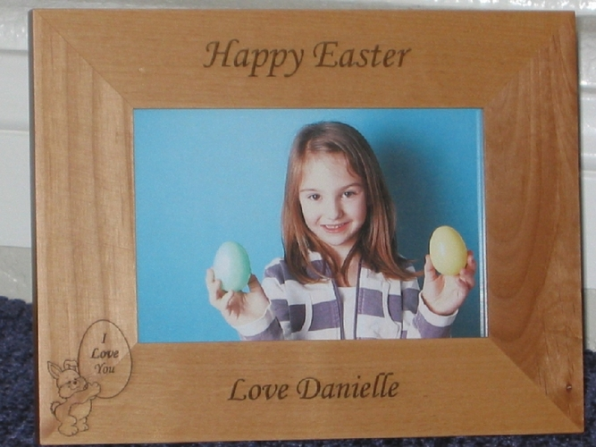 Easter Picture Frame - Personalized Frame - Laser Engraved Easter Bunny
