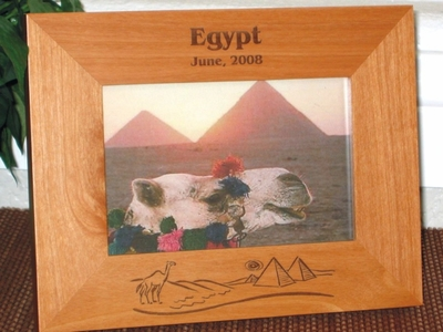 Egyptian Picture Frames - Personalized Frame - Laser Engraved Egypt Theme Skyline