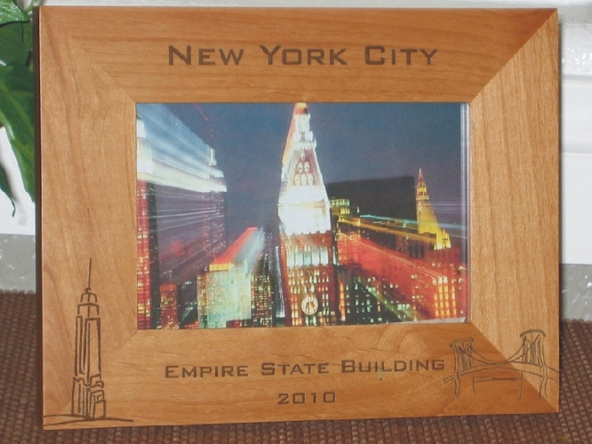 Empire State Picture Frame - Personalized Frame - Laser Engraved Empire State Building & Brooklyn Bridge