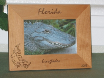 Everglades Picture Frame - Personalized Frame - Laser Engraved Alligator
