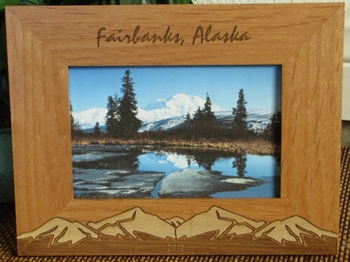 Fairbanks Picture Frame - Personalized Frame - Laser Engraved Snow Capped Mountains