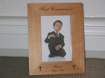 First Communion Picture Frame - Personalized Frame - Laser Engraved Crosses - 1st Communion