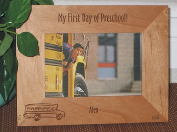 First Day School Picture Frame - Personalized Frame - Laser Engraved School Bus