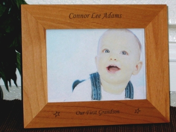 First Grandchild Picture Frame - Personalized Baby Frame - Laser Engraved Stars