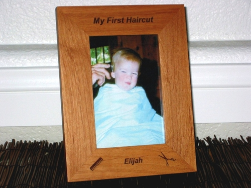 First Haircut Picture Frame - Personalized Frame - Laser Engraved Comb & Sissors
