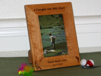 Fisherman Picture Frame - Personalized Frame - Laser Engraved Fisherman Catching Fish