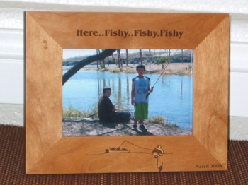 Fishing Boat Picture Frame - Personalized Frame - Laser Engraved Fishing Boat with Large Fish Bobber
