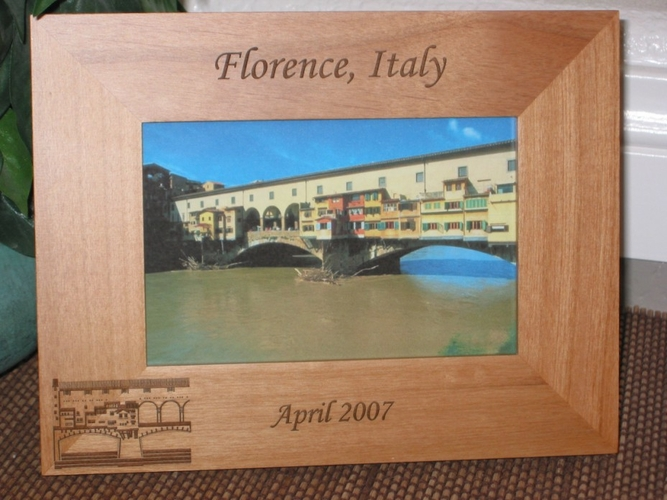 Florence Italy Picture Frame - Personalized Frame - Laser Engraved Ponte Vecchio Bridge