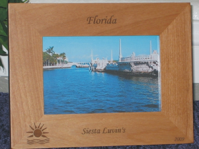 Florida Picture Frame - Personalized Souvenir Frame - Laser Engraved Sun & Waves