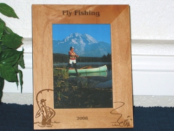 Fly Fishing Picture Frame - Personalized Frame - Laser Engraved Fly Fishing Theme