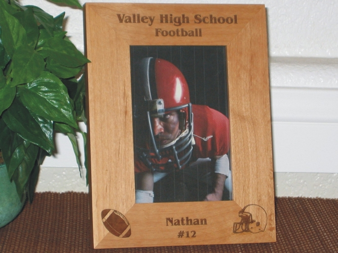 Football Picture Frame - Personalized Sports Frame - Laser Engraved Football Helmet