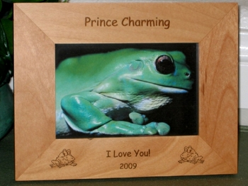 Frog Picture Frame - Personalized Frame - Laser Engraved Frogs