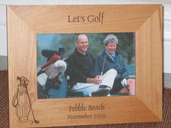 Golf Bag Picture Frame - Personalized Frame - Laser Engraved Golf Bag