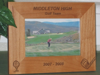 Golf Theme Picture Frame - Personalized Frame - Laser Engraved Golf Club and Golf Ball