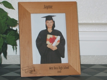 Graduation Picture Frame - Personalized Frame - Laser Engraved Diploma and Graduation Cap