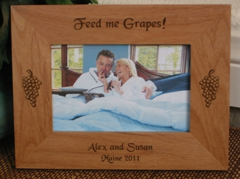 Grape Picture Frame - Personalized Frame - Laser Engraved Grapes