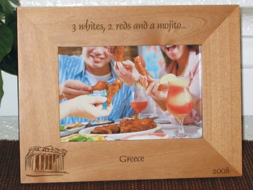 Greece Picture Frame - Personalized Souvenir Frame - Laser Engraved Greek Parthenon