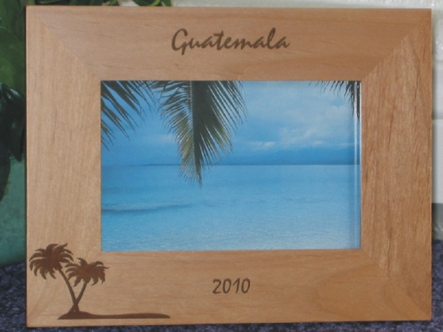 Guatemala Picture Frame - Personalized Frame - Laser Engraved Palm Tree