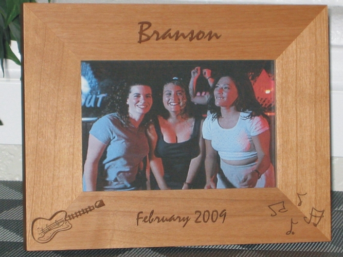 Guitar Picture Frame - Personalized Frame - Laser Engraved Electric Guitar and Music Notes