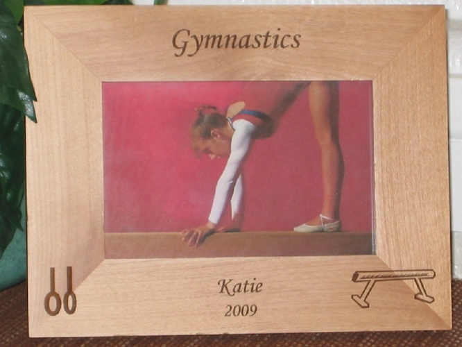 Gymnastics Picture Frame - Personalized Frame - Laser Engraved Balance Bean & Rings