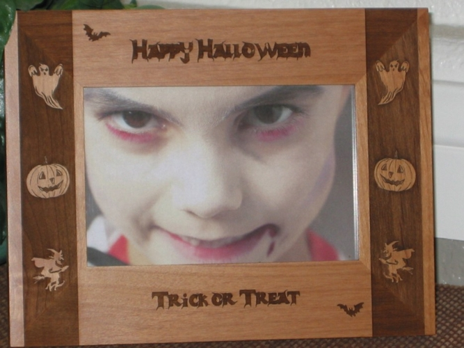Halloween Boarder Picture Frame - Personalized Frame - Laser Engraved Halloween Boarders
