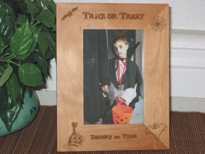 Halloween Picture Frame -  Personalized Frame - Laser Engraved Halloween