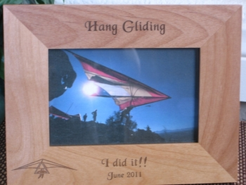 Hang Gliding Picture Frame - Personalized Frame - Laser Engraved Hang Gliding