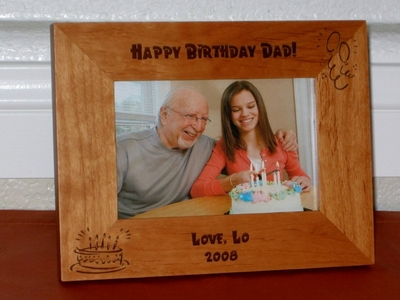 Happy Birthday Picture Frame - Personalized Frame - Laser Engraved Birthday Cake & Balloons