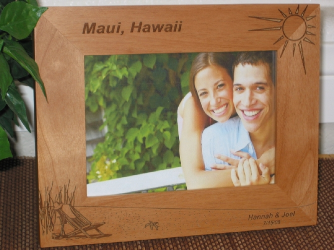 Hawaii Beach Picture Frame - Personalized Frame - Laser Engraved Beach Theme