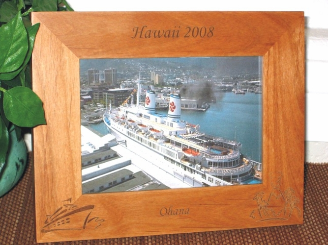 Hawaii Cruise Ship Picture Frame - Personalized Souvenir Frame - Laser Engraved Hawaiin Cruise