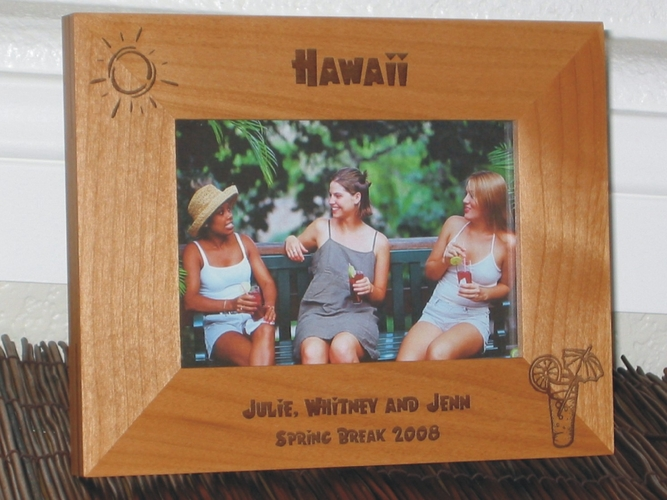 Hawaii Picture Frame - Personalized Frame - Laser Engraved Tropical Drink & Sun