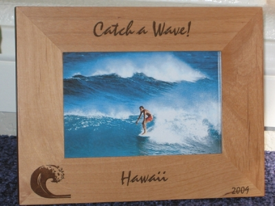 Hawaii Picture Frame - Personalized Souvenir Frame - Laser Engraved Wave