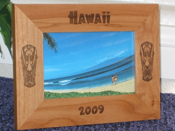 Hawaii Tiki Picture Frame - Personalized Frame - Las Engraved Tiki