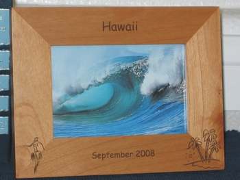Hawaiian Picture Frame - Personalized Souvenir Frame - Laser Engraved Hula Dancer