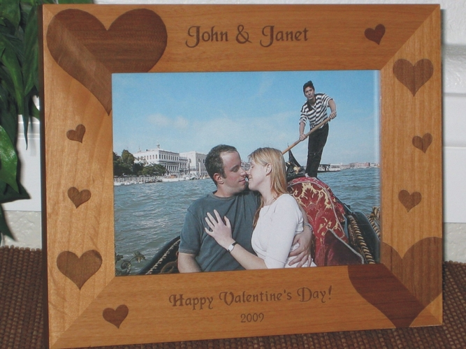 Heart Picture Frame - Personalized Frame - Laser Engraved Hearts Everywhere