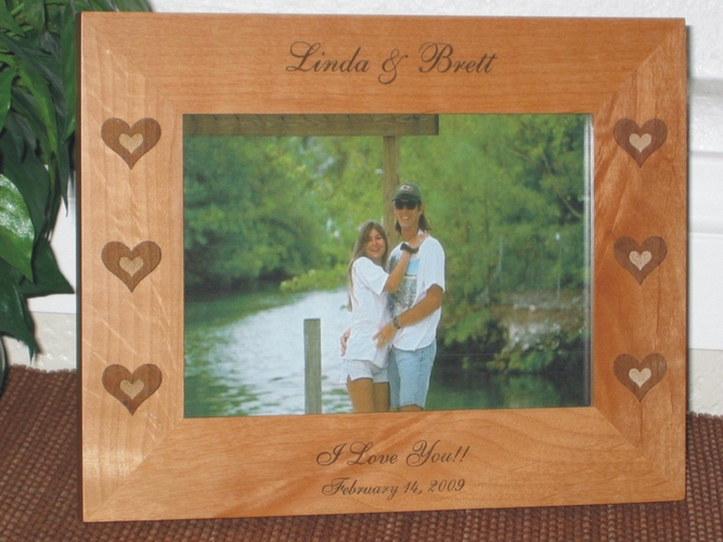 Heart Picture Frame - Personalized Valentines Frame - Laser Engraved Triple Hearts on Sides