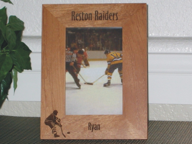 Hockey Picture Frame - Personalized Frame - Laser Engraved Hockey Player