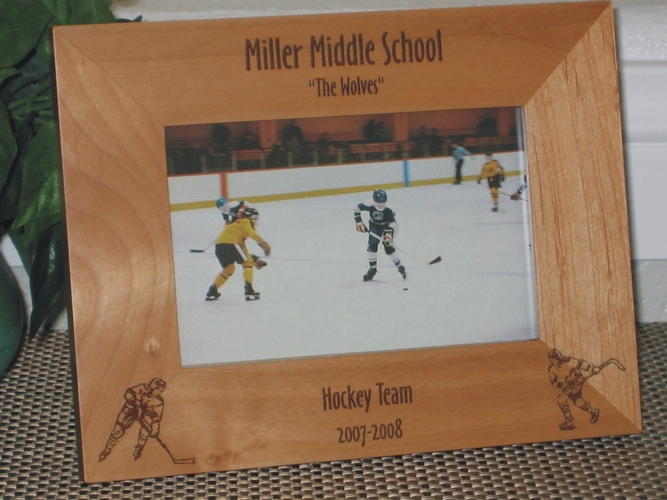 Hockey Picture Frame - Personalized Frame - Laser Engraved Hockey Players