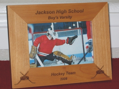 Hockey Picture Frame - Personalized Frame - Laser Engraved Hockey Stick & Puck