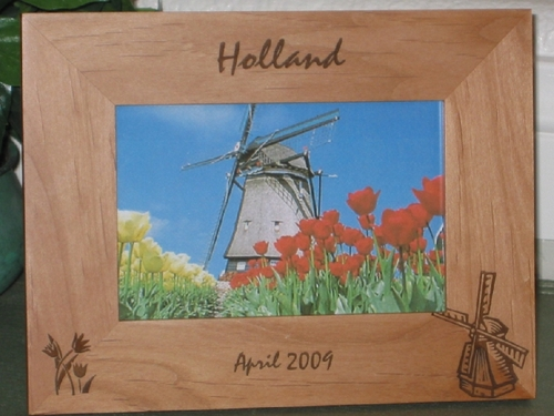 Holland Picture Frame - Personalized Frame - Laser Engraved Tulips & Windmill